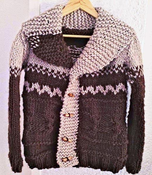 Tricot cardigan sweater in virgin wool