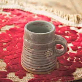 Grey conical ceramic cup