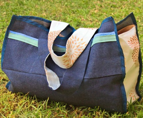 Blue denim fabric bag