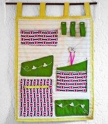 Coloured fabric wall organizer designed by Marina OAZ sewing