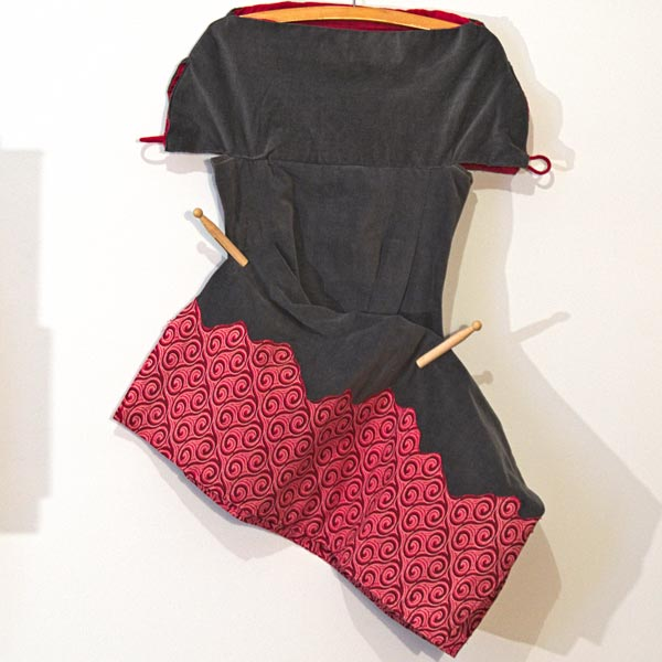 Velvet and southafrican shwe-shwe fabric dress