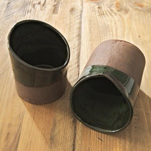 Dark green basalt ceramic cups