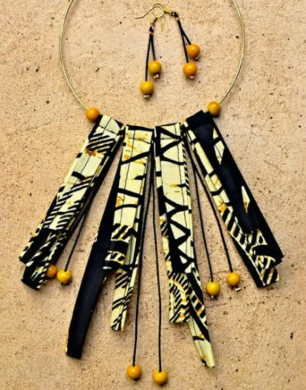 Black yellow wax african fabric with yellow beads necklace and matching earrings designed by Marina OAZ accessories