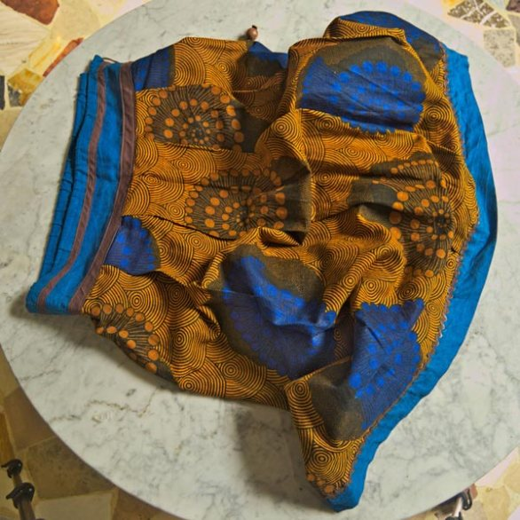 African brown and blue skirt