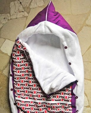 Purple and african fabric baby sleeping bag