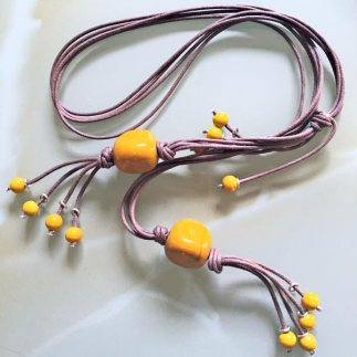 Brown strings and yellow beads necklace