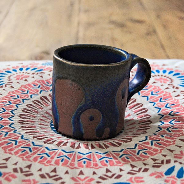 Blue and brown ceramic cup