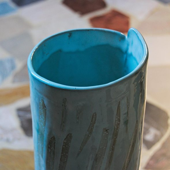 Blue ceramic vase with basalt clay, glaze and oxide