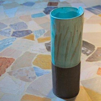 Blue ceramic vase with basalt clay, glaze and oxide
