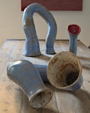Terracotta and commercial glazes ceramic sculpture