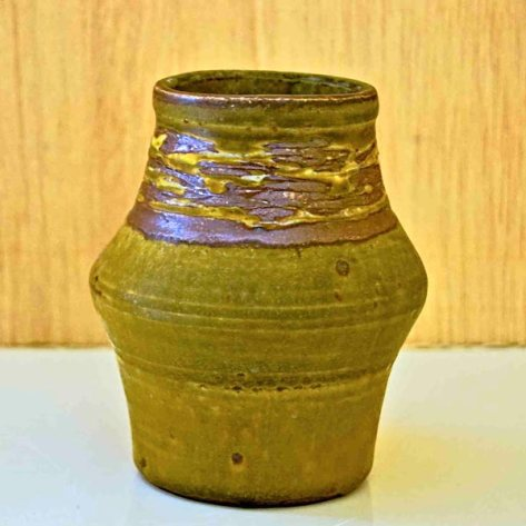 Green brownish ceramic vase