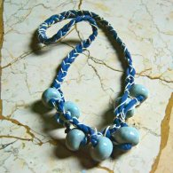 Blue cotton and grey clay beads necklace