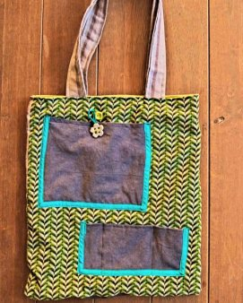 Denim and green shwe-shwe fabric bag