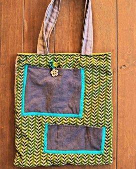 Denim and green shwe-shwe fabric bag