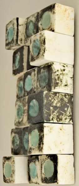 Ceramic mural with liquid earthenware clay, and oxides with glaze
