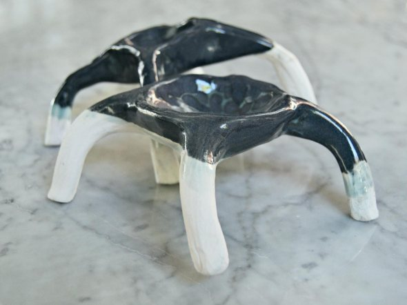 Grey ceramic spider with earthenware and glaze