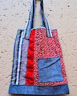 Denim and red-blue shwe-shwe fabric bag