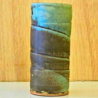 Green spiral ceramic vase