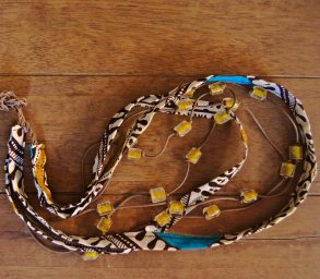 Wax african fabric and yellow glass beads necklace