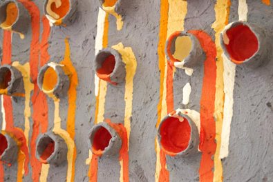Painting with acrylic, cardboard and plaster