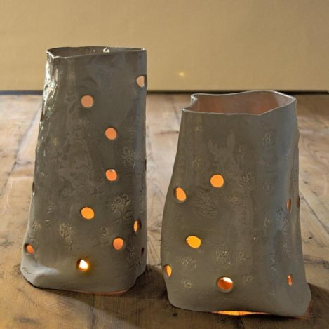 Grey ceramic lamps with paper clay and glaze