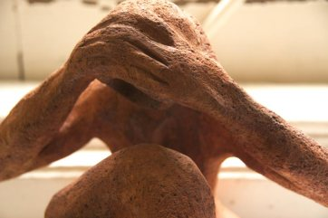 Grogged Terracotta man sculpture with fired acid finishing