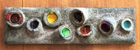 Ceramic mural with grogged terracotta and oxide with commercial glazes by artist Marina OAZ