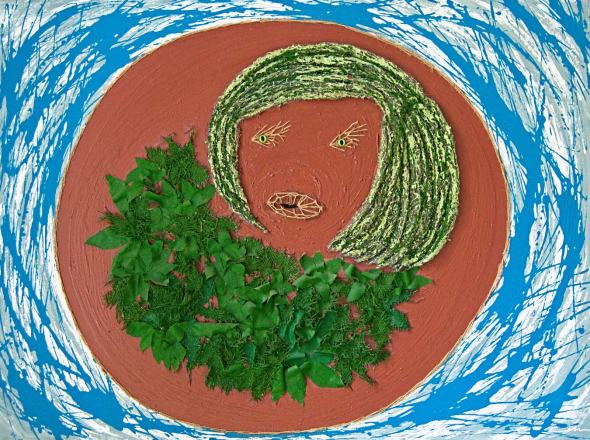 Painting with acrylic, raffia, fabrics and steel scourer