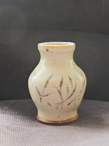 White asian style terracotta vase