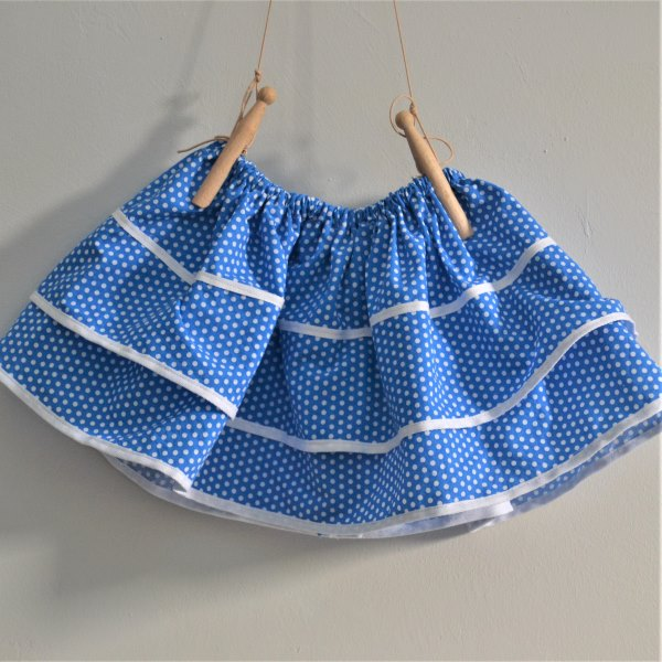 Baby kid blue background with white polka-dot pattern and frill skirt