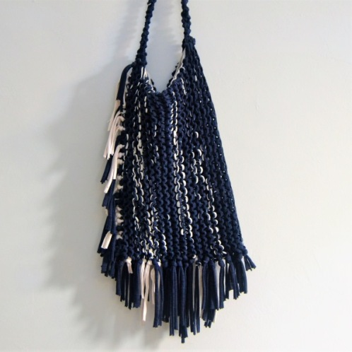 Navi and white cotton fabric yarn knitted bag with tassels in two sides