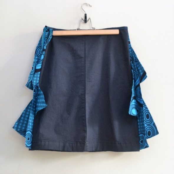 Blue navy skirt with triangles of blue wax african fabric on both sides