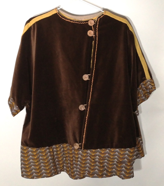 Brown-Velvet-Africanfabric-poncho-jacket