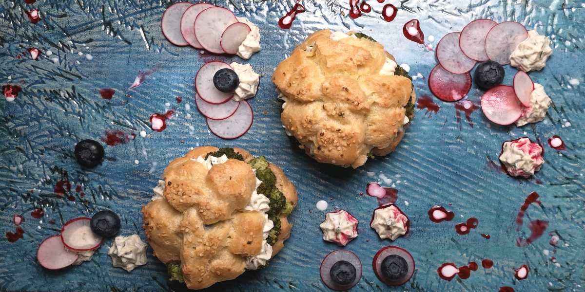 Savoury Choux with broccoli and coconut cream filling