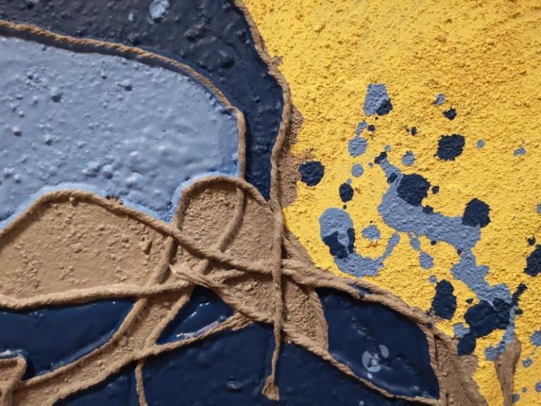 Yellow Blue Beach mixed media acrylic paint