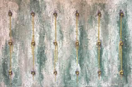 Green mixed media acrylic paint