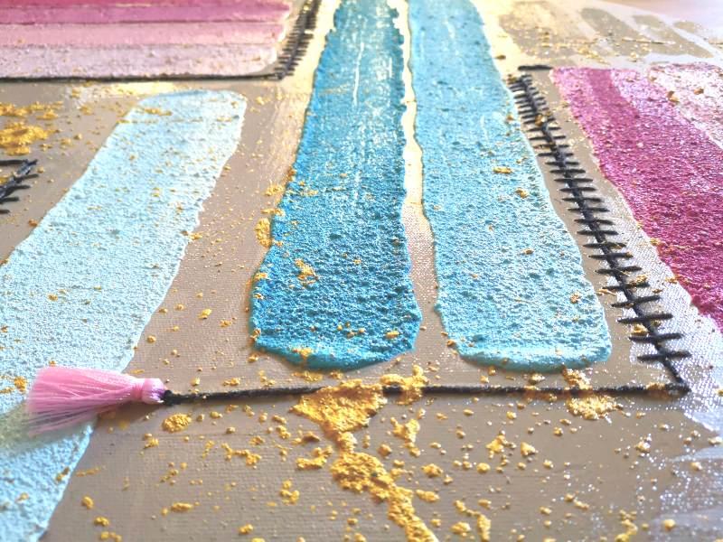 Pink & Blue circular mixed media acrylic paint