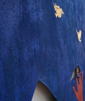 Blue UE mixed media acrylic paint