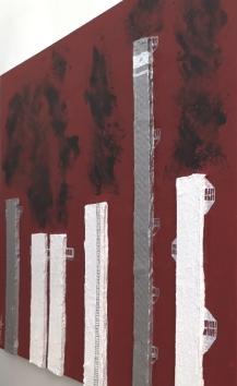 Red mixed media acrylic paint