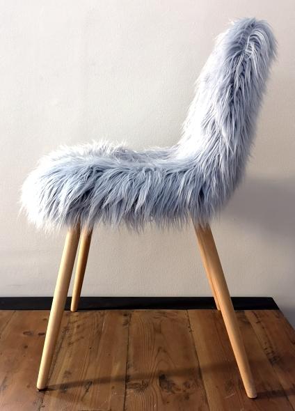 Light blue fur chair